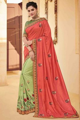 Peach Color Poly Silk Half and Half Festival Saree With Embroidery Work