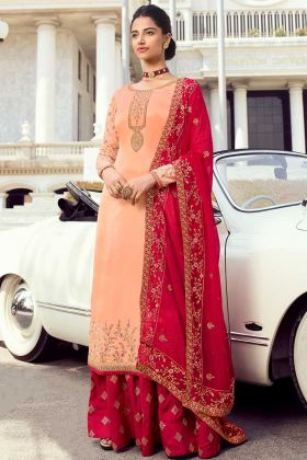 Peach Color Pure Satin Georgette Pakistani Suit In Swarovski Work