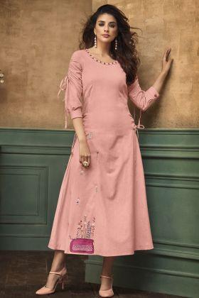 Pink Color Satin Cotton Long Kurti