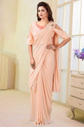 Peach Color Satin Lycra and Silk Stylish Saree With Printed Work