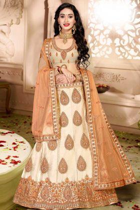 Peach Color Satin Silk Wedding Lehenga Choli With Resham Embroidery Work