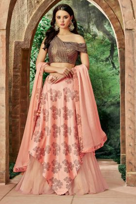 Peach Color Silk Embroidery Lehenga Choli