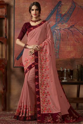 Peach Color Thread Silk Embroidery Work Vichitra Silk Wedding Saree