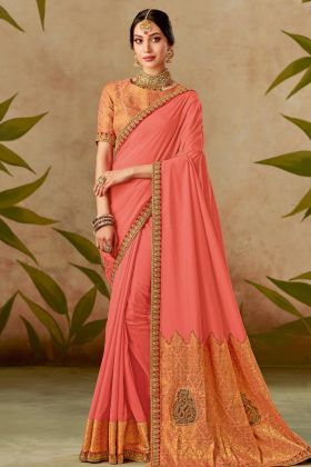 Peach Color Traditional Silk Saree Online