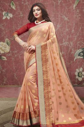 Peach Cotton Festive Saree