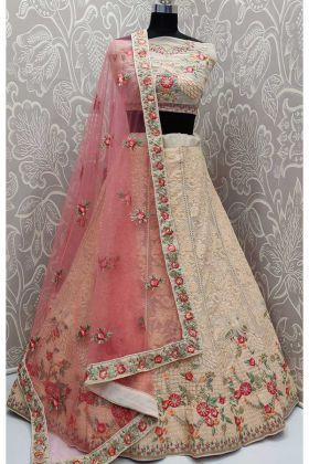 Peach Designer Reception Lehenga Choli With Georgette Fabric
