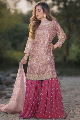 Peach Eid Sharara Suit Designer Party Wear Heavy Net