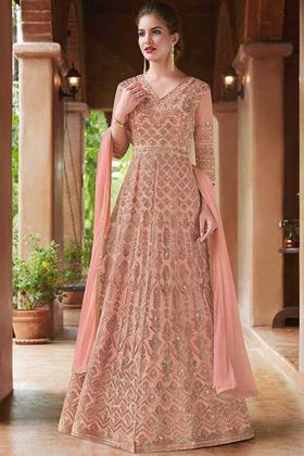 Peach Embroidery Work Gown Style Net Anarkali Salwar Suit