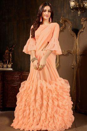 Peach Georgette Party Wear Ruffle Saree