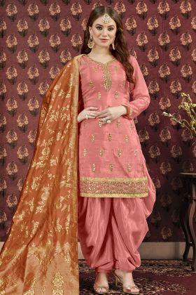 Peach Gotta Patti Work Punjabi Salwar Kameez