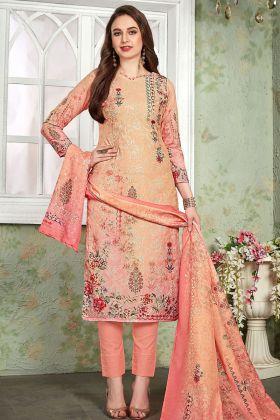 Peach Heavy Muslin Pant Style Salwar Kameez