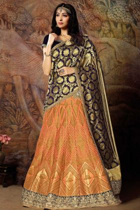 Peach Jacquard Lehenga With Velvet Blouse