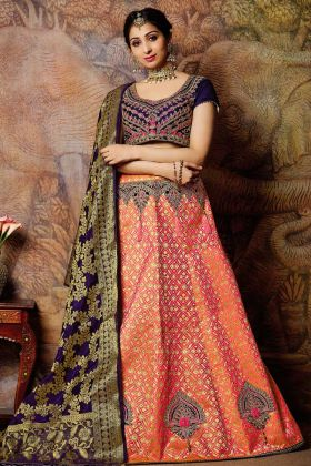 Peach Jacquard Weaved Silk Lehenga