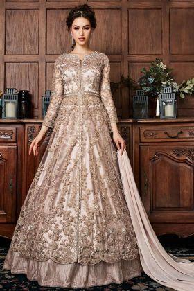 Peach Net Front Open Wedding Anarkali Suit