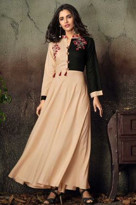 Peach Rayon Fancy Gown