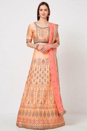 Peach Resham Embroidery Designer Wedding Lehenga Choli