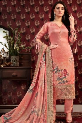 Peach Satin Crepe Printed Straight Suit