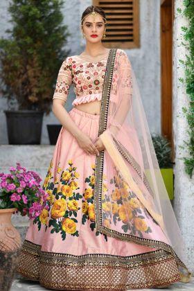 Peach Silk Bridal Lehenga Choli