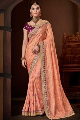 Peach Silk Georgette Saree With Wine Color Blouse