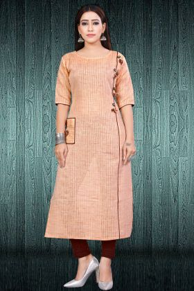 Peach South Cotton Stylish Kurti