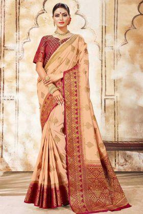 Peach Traditional Nylon Silk Saree In Weaving Print