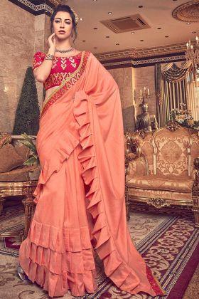 Peach Vichitra Silk Ruffle Saree