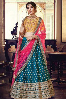 Peacock Blue Satin Silk Wedding Ghagra Choli Designs