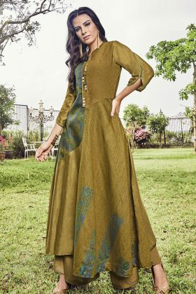 Pear Green Modal Jacquard Fancy Kurti