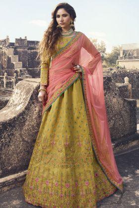 Pear Green Soft Silk Designer Lehenga