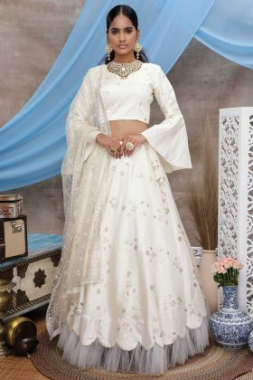 Pearl White Designer Art Silk Party Wear Lehenga Choli