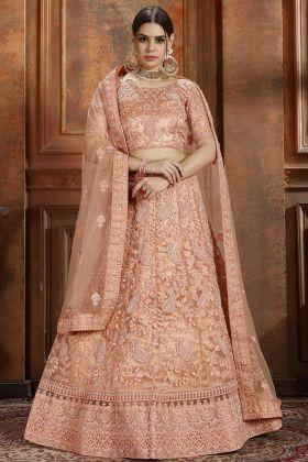 Pearl Work Peach Soft Net Wedding Lehenga Choli