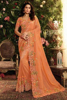 Pearl Work Pure Viscose Tissue and Net Saree In Orange Color