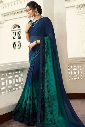 Personality Wearing Lovely Designer Saree Navy Blue Color