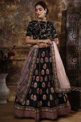 Phantom Silk Wedding Lehenga Choli Black Color With Zari Embroidery Work