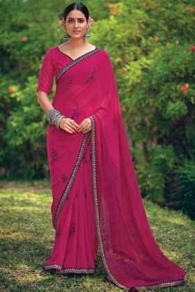 Pin On Buy Admirable Dark Pink Georgette Printed Saree
