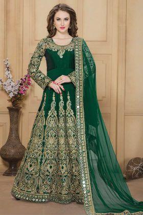 Pin On Buy Green Designer Embroidered Taffeta Silk Heavy Dress