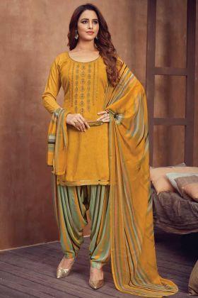 Pin On Buy Mustard Color Viscose Rayon Panjabi Patiala Suit Online