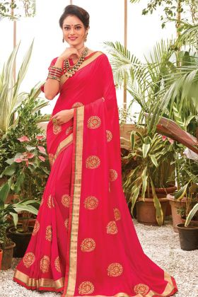 Pin On Buy Pink Color Chanderi Silk Latest Saree By Online
