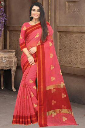 Pin On Buy Pink Color Doriya Cotton Silk Saree For Wedding