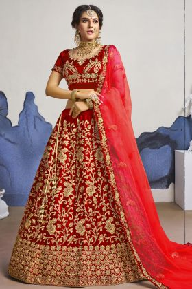 Pin On Buy This Pretty Designer Satin Silk Red Color Wedding Lehenga Choli