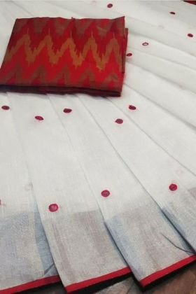 Pin On This Linen Saree In White Color By Fabja.com