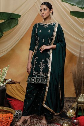 Pine Green Chinon Embroidery Work Salwar Suit