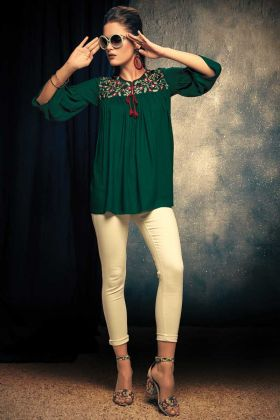 Pine Green Readymade Top For Women