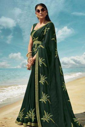 Pine Green Thread Embroidered Art Silk Designer Saree