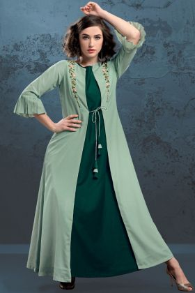 Pine Green and Pastel Green Jacket Style Kurti
