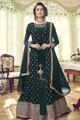Pine Green Georgette Jacket Style Salwar Kameez