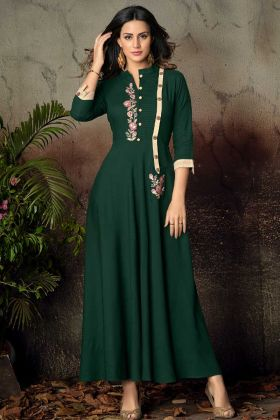 Pine Green Rayon Festive Gown