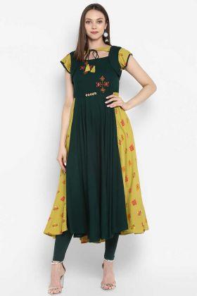 Pine Green Rayon Printed Party Wear Kurti
