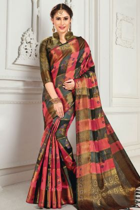 Pink And Black Cotton Saree In Weaving Work