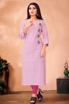 Pink And White Cotton Kurti In Embroidery Work